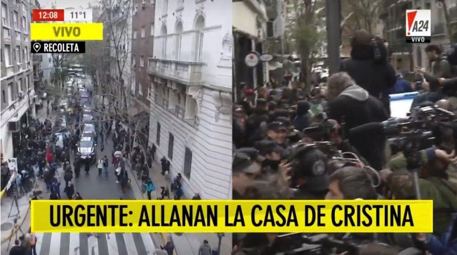 Comenzó el show del allanamiento en la casa de CFK sin la presencia de su abogado