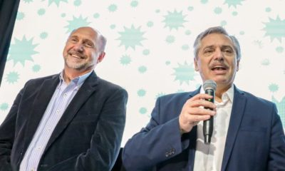 Alberto Fernández en Santa Fe: Alberto Fernández junto a Omar Perotti de recorrida por la provincia de Santa Fe