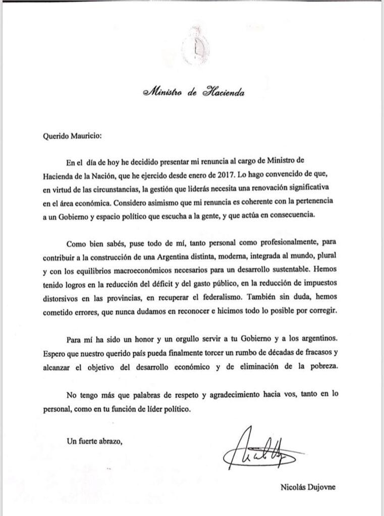 Renunció el Ministro de Hacienda Nicolás Dujovne