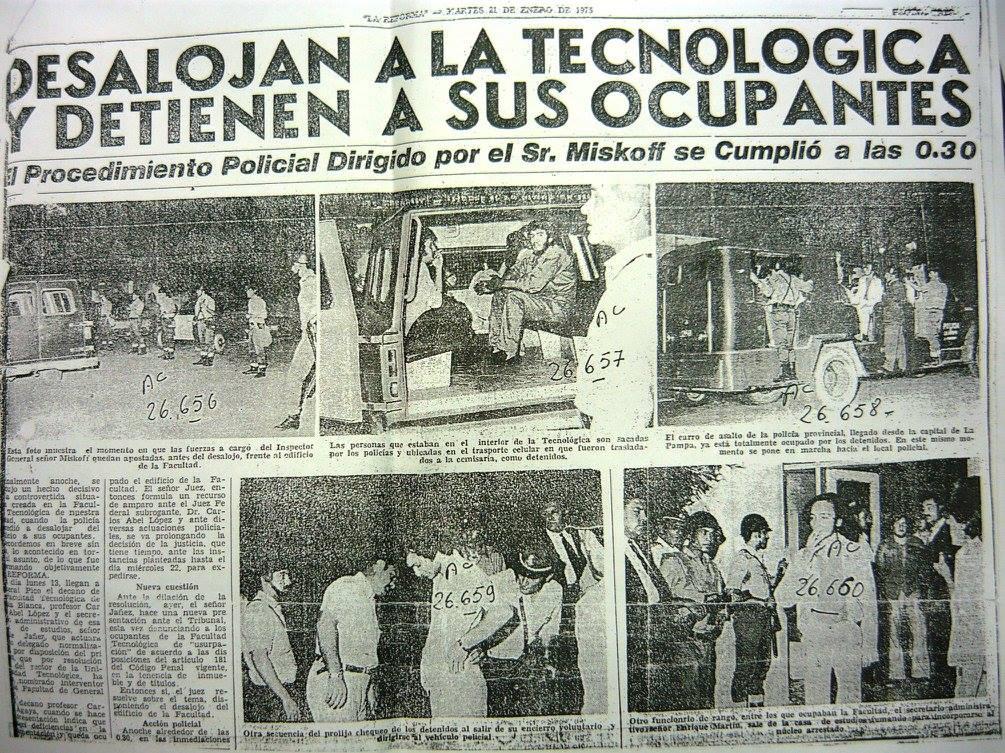 Toma de la Universidad Nacional Tecnológica de General Pico en 1975